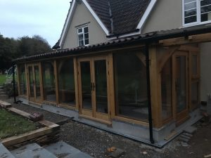 Oak Framed glazed extension Bristol