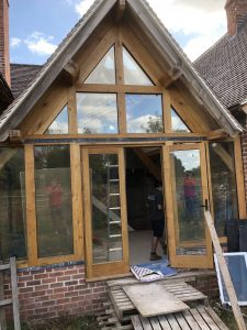 Glass and oak font view with oak french doors