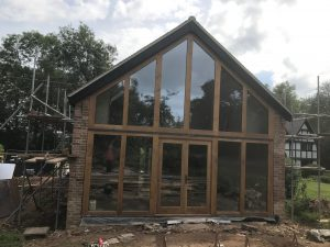 Glazed oak framed barn gable