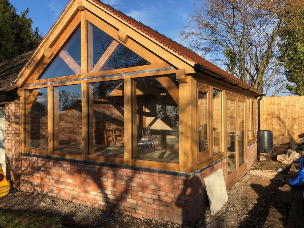 Oak framed garden room office extension in Hereford