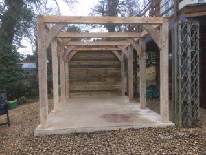 Single bay oak carport