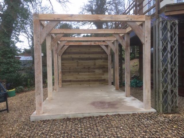 Single bay oak carport