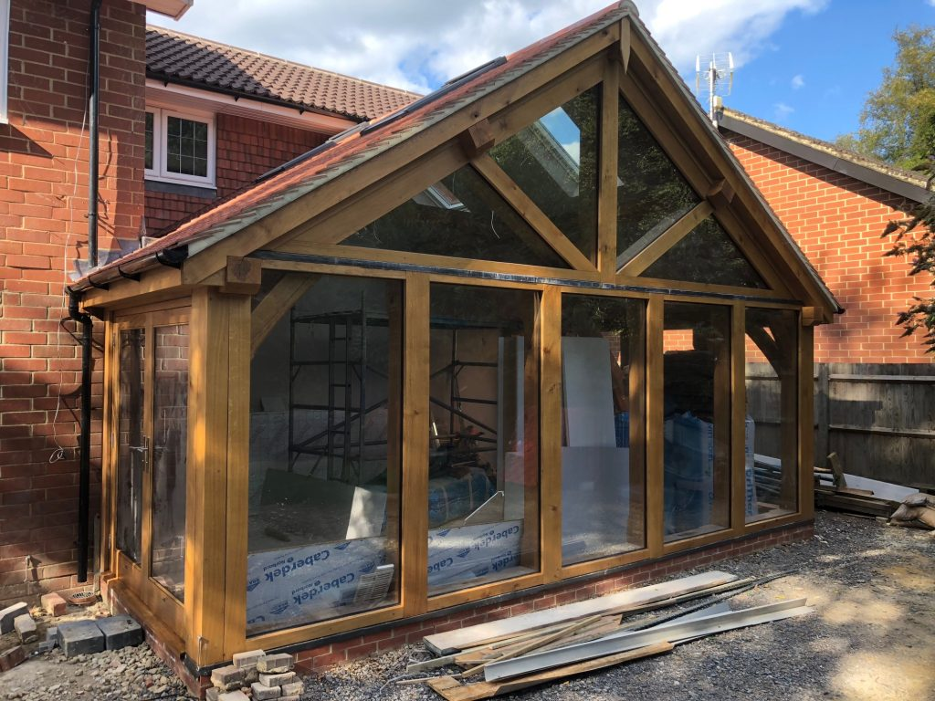 Oak framed glazed garden room extension