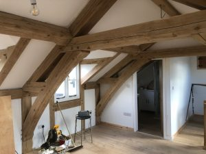 Arch collar truss in an oak framed extension