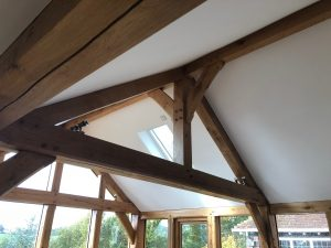 Oak truss inside garden room extension