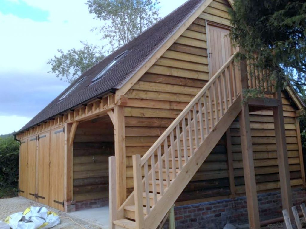 3 bay oak framed garage with uopstairs