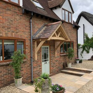 Oak framed canopy with red tiled roof