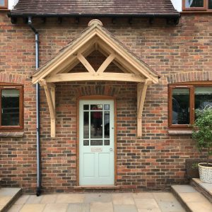 Front view of oak framed canopy