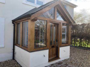 Enclosed oak framed porch with double glazed units.